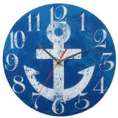 24 Units of Blue Wall Clock With Anchor