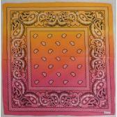 72 Units of Bandana-Pink/Orange Paisley Fade - Bandanas