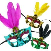 48 Units of METALLIC FAUX GEM AND FEATHER MASKS.