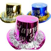 200 Units of PAPER METALIC HAPPY NEW YEAR HATS. - Party Favors