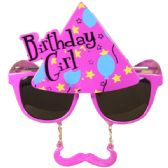 72 Units of Birthday Girl Party Glasses with mustache - Novelty & Party Sunglasses