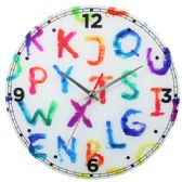 12 Units of Glass Wall Clock Colorful ABC Design