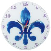 12 Units of Glass Wall Clock White And Blue - Clocks