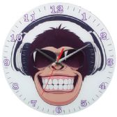 12 Units of Glass Wall Clock With Monkey - Clocks