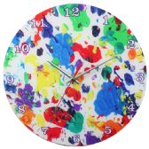 12 Units of Glass Wall Clock White With Paint Splatter - Clocks