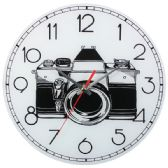 12 Units of Glass Wall Clock White Camera