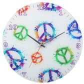 12 Units of Glass Wall Clock White With Colorful Peace Signs