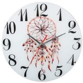 12 Units of Glass Wall Clock White With Flower