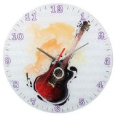 12 Units of Glass Wall Clock With Guitar - Clocks