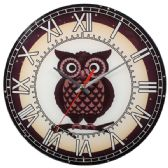 12 Units of Glass Wall Clocks With Owl - Clocks