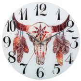 12 Units of Glass Wall Clocks With Bull