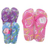 72 Units of GIRL'S HEART PRINT FLIP FLOP SIZE 6-10