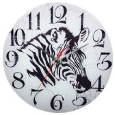24 Units of Glass Wall Clock White Zebra