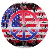 24 Units of Glass Wall Clock American Peace Sign