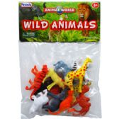 "108 Units of 12PC 2"" PLASTIC WILD ANIMALS IN POLY BAG W/HEADER - Animals & Reptiles"