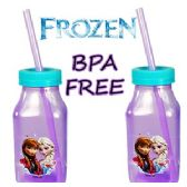 24 Units of DISNEY'S FROZEN ACRYLIC MILK BOTTLE W/ LID & STRAW - Plastic Drinkware