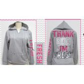 24 Units of Ladies French Terry Hoodie With Kangaroo Pockets - Womens Sweaters / Cardigan