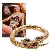 12 Units of GOLD SNAKE ARMBAND WITH BLACK RHINESTONES. - Halloween & Thanksgiving