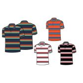 24 Units of Mens 100% Cotton Striped Polo Shirt - Boys School Uniforms