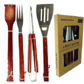 12 Units of 4 PIECE STAINLESS STEEL BARBEQUE SETS. - BBQ supplies