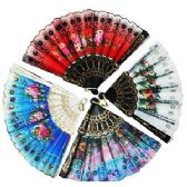 240 Units of EMBROIDERED SEQUINED FLORAL FOLDING HAND FANS
