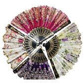 240 Units of GLITTER FLOWERED FOLDING HAND FANS.