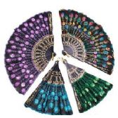 288 Units of EMBROIDERED SEQUINED FOLDING HAND FANS