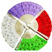 240 Units of EMBROIDERED SEQUINED FOLDING HAND FANS