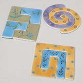 24 Units of Trivet Ceramic Puzzle 3 Assorted - Coasters & Trivets