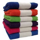 12 Units of BK Terry Cabana Stripe 6 Assorted Colors 30x60 Beach Towel - Beach Towels