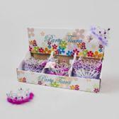 96 Units of Tiara W/feather Trim 48pc Pdq 4asst Designs Pink/purple W/gem Stone Look/hangtag - GIRLS TOYS