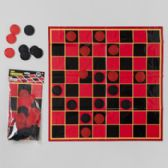 24 Units of Jumbo Checkers Playset Mat W/25pcs Black & Red Pbh - Dominoes & Chess