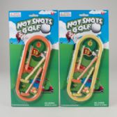 96 Units of Hot Shot Mini Golf Playset 1 Tray/2 Mini Clubs/3 Mini Balls & 1 Flag Blister Card