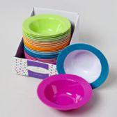 48 Units of Soup Bowl Melamine Embossed Rim Solid Or Color Rim - Plastic Bowls and Plates