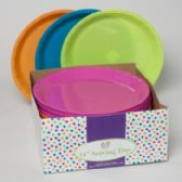 48 Units of 14in Round Serving Platter in 4asst Summer Brites - Tray