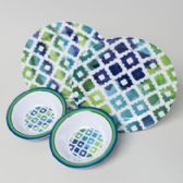 96 Units of Dinnerware Melamine Plate/bowl 48pc Pdq's Ea Blue Quatrefoil 11in Plate/7.25in Bowl - Plastic Bowls and Plates