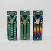24 Units of Suspenders St Pat 3ast Colors Green/multicolor/stache - Costumes & Accessories