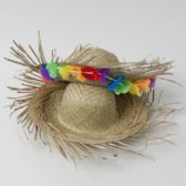 24 Units of Hat Beachcomber Straw Luau 2asst Natural Color W/w-out Floral Luau Hangtag - Costumes & Accessories
