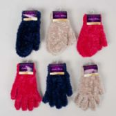 48 Units of Glove/mitten Ladies Furry 3ast Colors Ea 40gm/pair 8x4in Header Card W/hook - Knitted Stretch Gloves