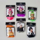 36 Units of  Wig Ladies Bob Style 6ast 4 Neons/black/platinum Colors Pb/insert Card - Costumes & Accessories