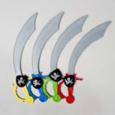 48 Units of Pirate Cutlass W/eyepatch 4ast Color Handles Grey Plastic W/ht - Costumes & Accessories