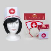 48 Units of Nurse Cap Dressup Polyester Polybag Header - Costumes & Accessories