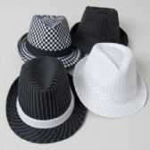 24 Units of Hat Fedora Striped/checkered Black And White 4ast Designs Black Party Art Ht/jhook - Costumes & Accessories