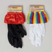 48 Units of Clown Gloves 2 Ast Colors White W/rainbow Trim/black W/red Trim Equal Ast/header Card - Costumes & Accessories