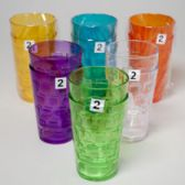 48 Units of Tumblers Glass-look 6 Colors 2pk 18 Oz In A White Pdq - Plastic Drinkware