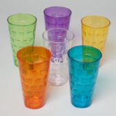 48 Units of Tumblers Glass-look 6 Colors 1ct 24 Oz In Pdq - Plastic Drinkware