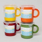 36 Units of Soup Mug Plastic W/cliplock & Vent 4ast Colors/label 2.94cups/23.5 Fl Oz - Plastic Bowls and Plates