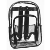 "24 Units of 17"" Clear Backpack In Black - Backpacks 17"""