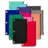96 Units of 3 RING BINDER PENCIL CASE - 12 COLORS - Clipboards and Binders