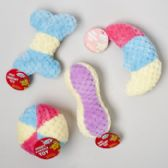 48 Units of Dog Toy Plush With Squeaker Tri-color 4 Asst In Pdq - Pet Accessories